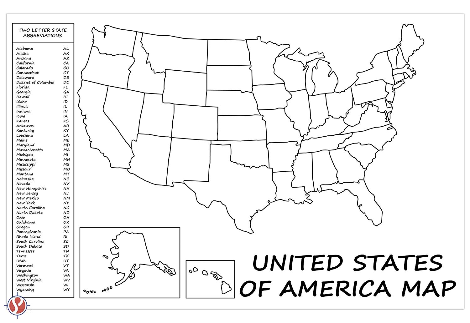 United States Map Usa Poster Us Educational Map With 2 Letter State Abbrevi 37171396335 Ebay