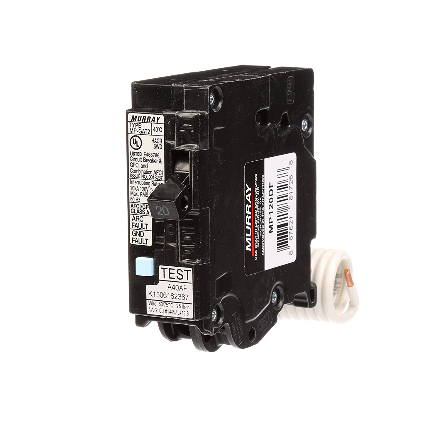 Murray Mp120df 20 Gfci Dual Function Circuit Breaker  Plug On Load Cent