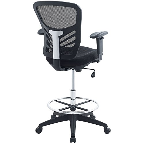Modway Articulate Drafting Chair In Black Reception Desk